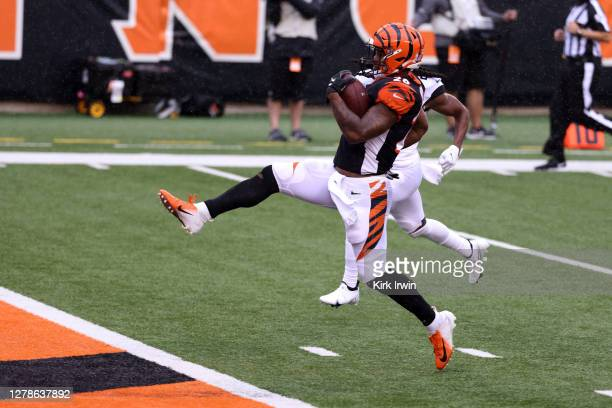 Joe Mixon of the Cincinnati Bengals scores a touchdown during the game against the Jacksonville Jaguars at Paul Brown Stadium on October 4, 2020 in...