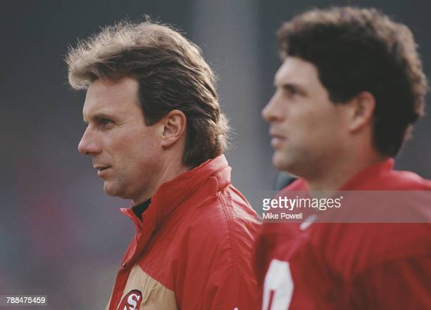 Joe Montana and Steve Young, Quarterbacks for the San Francisco 49ers during the National Football Conference West game against the Kansas City...