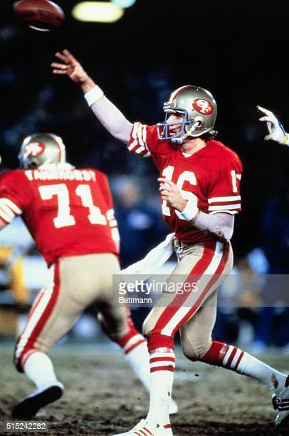 Joe Montana of New Eagle, Pennsylvania, quarterback for the San Francisco 49ers, passes the ball during play.