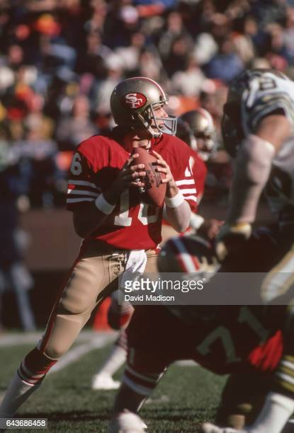 Joe Montana of the San Francisco 49ers attempts a pass during an NFL game against the New Orleans Saints played on December 7, 1980 at Candlestick...