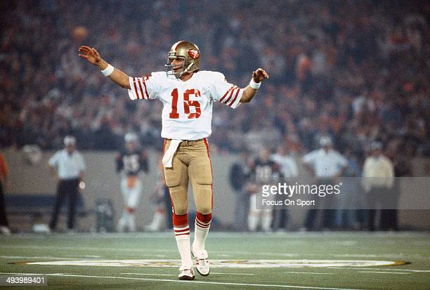 Joe Montana of the San Francisco 49ers celebrates after they scored against the Cincinnati Bengals during Super Bowl XVI on January 24 1982 at the...