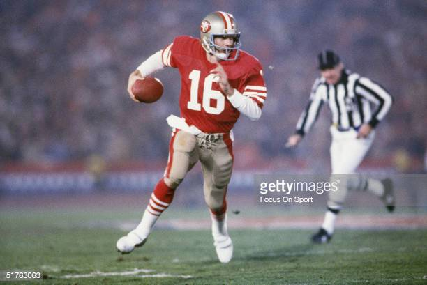Joe Montana of the San Francisco 49ers scrambles for yards during the 1980s