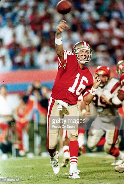 Joe Montana of the San Francisco 49ers throws a pass against the Cincinnati Bengals during Super Bowl XXIII on January 31 1989 at Joe Robbie Stadium...