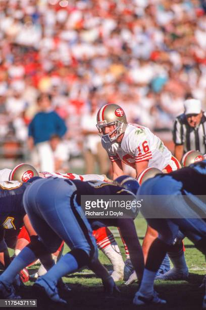 QB Joe Montana preparing to take the snap from center San Francisco 49ers 48 vs San Diego Chargers 10 at Jack Murphy Stadium in San Diego California