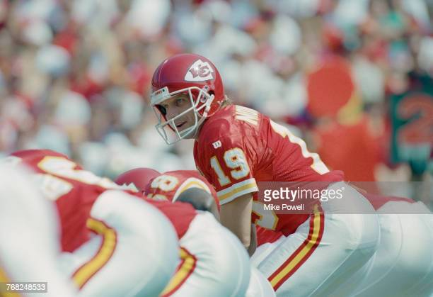 Joe Montana, Quarterback for the Kansas City Chiefs calls the play at the snap during the American Football Conference West game against his former...