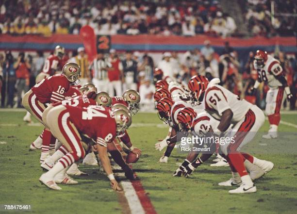 Joe Montana, Quarterback for the San Francisco 49ers calls the play on the line of scrimmage during the National Football League Super Bowl XVIII...
