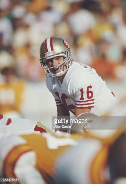 Joe Montana Quarterback for the San Francisco 49ers calls the play against the Tampa Bay Buccaneers during their National Football Conference East...