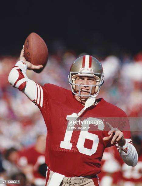Joe Montana Quarterback for the San Francisco 49ers during the National Football Conference West Divisional game against the Minnesota Vikings on 6...