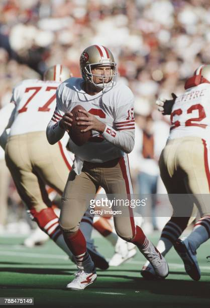 Joe Montana Quarterback for the San Francisco 49ers prepares to throw a pass during the National Football Conference East game against the New York...