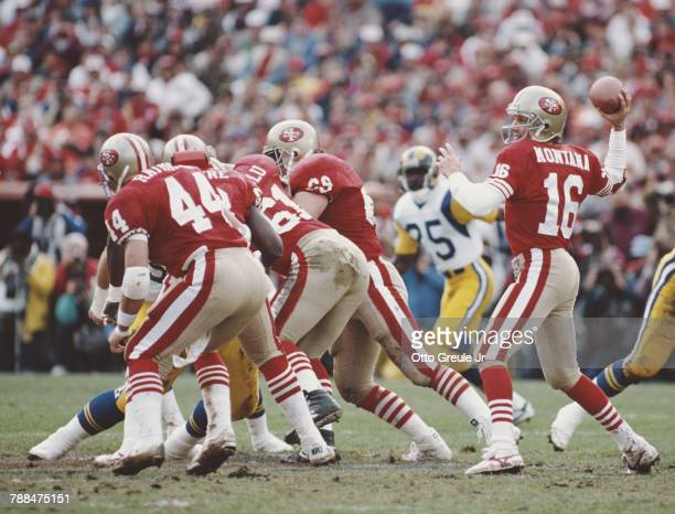 Joe Montana, Quarterback for the San Francisco 49ers prepares to throw a pass during the National Football Conference Championship game against the...