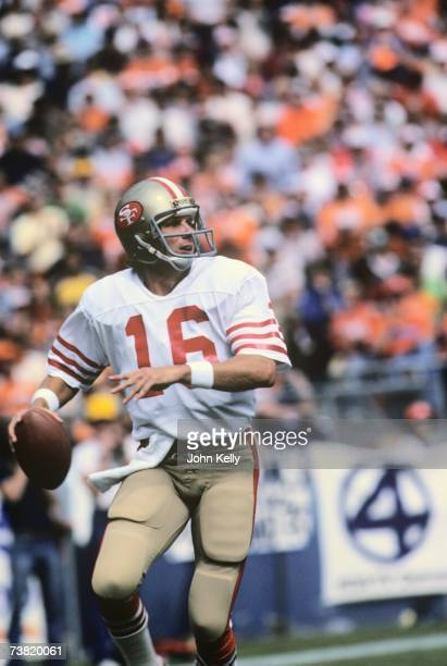 Joe Montana rolls out of the pocket to throw the ball downfield at Mile High Stadium in 1982