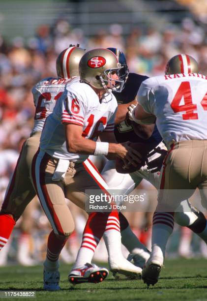 QB Joe Montana takes the snap from center San Francisco 49ers 48 vs San Diego Chargers 10 at Jack Murphy Stadium in San Diego California