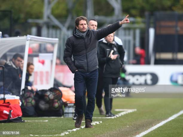 Joe Montemurro manager of Arsenal during The FA Women's Cup Fifth Round match between Arsenal against Millwall Lionesses at Meadow Park Borehamwood...