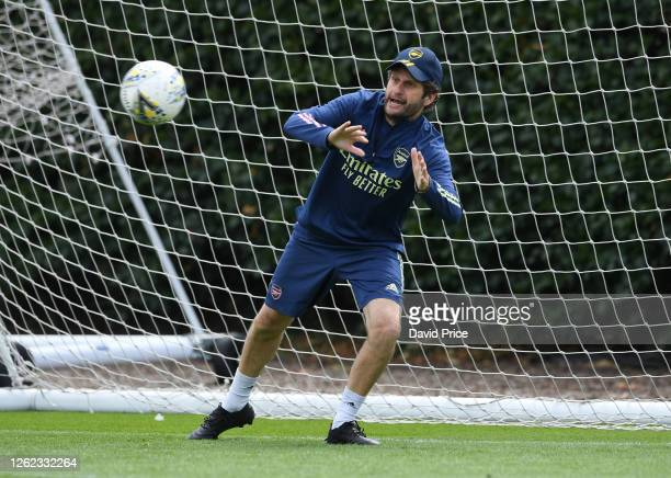 Joe Montemurro the Arsenal Women's Manager during the Arsenal Women training session at Arsenal Academy on July 29 2020 in Walthamstow England