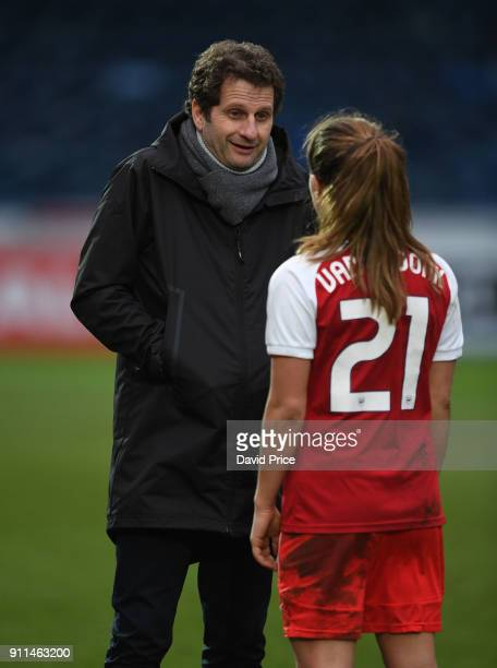 Joe Montemurro the Arsenal Womens Manager talks to Danielle van de Donk after the match between Reading FC Women and Arsenal Women at Adams Park on...