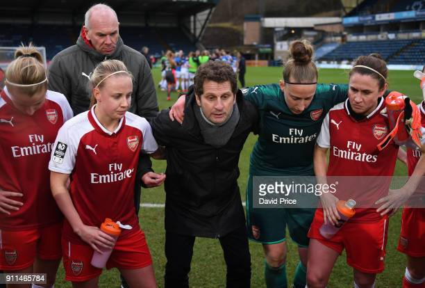 Joe Montemurro the Arsenal Womens Manager tolks to his players after the match between Reading FC Women and Arsenal Women at Adams Park on January 28...