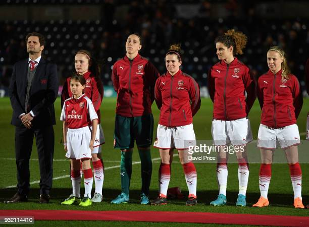 Joe Montemurro the Manager of Arsenal Women Kim Little Sari van Veenendaal Emma Mitchell Dominique Janssen and Beth Mead line up before the match...