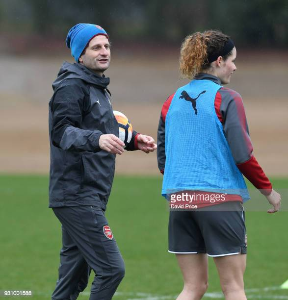 Joe Montemurro the Manager of Arsenal Women with Dominique Janssen during an Arsenal Women Training Session at London Colney on March 12 2018 in St...