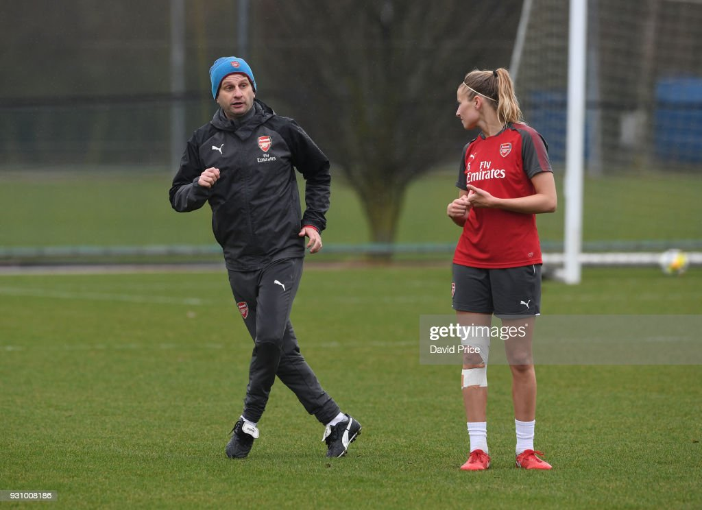 Joe Montemurro the Manager of Arsenal Women with Leah Williamson during an Arsenal Women Training Session at London Colney on March 12, 2018 in St Albans, England.
