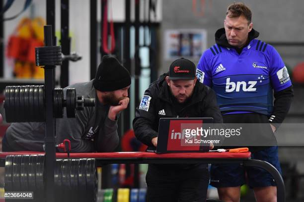 Joe Moody Assistant Coach Jason Ryan and Wyatt Crockett look on during a Crusaders Super Rugby captain's run at Rugby Park on July 28 2017 in...