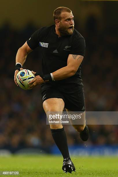 Joe Moody of New Zealand All Blacks during the 2015 Rugby World Cup Quarter Final match between New Zealand and France at the Millennium Stadium on...