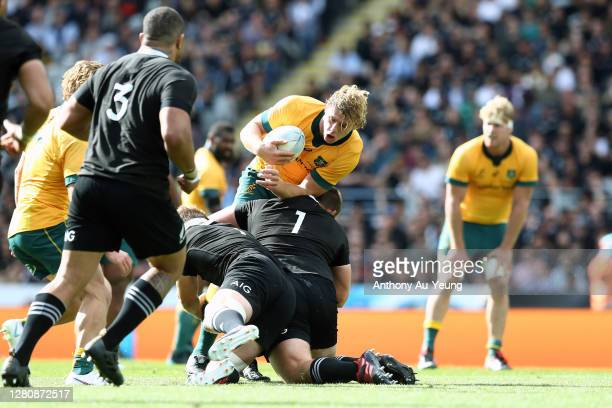 Joe Moody of the All Blacks injured himself while making a tackle on Ned Hanigan of the Wallabies during the Bledisloe Cup match between the New...