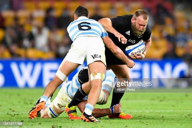 Joe Moody of the All Blacks is tackled during The Rugby Championship match between the Argentina Pumas and the New Zealand All Blacks at Suncorp...