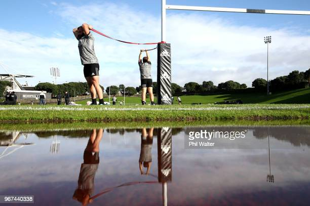 Joe Moody of the All Blacks warms up during a New Zealand All Blacks training session at Mt Smart Stadium on June 5 2018 in Auckland New Zealand