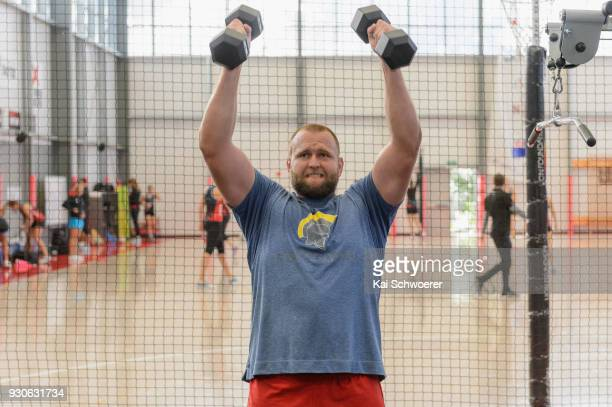 Joe Moody works out during a New Zealand All Blacks gym session at the Apollo Projects Centre high performance training facility on March 12 2018 in...