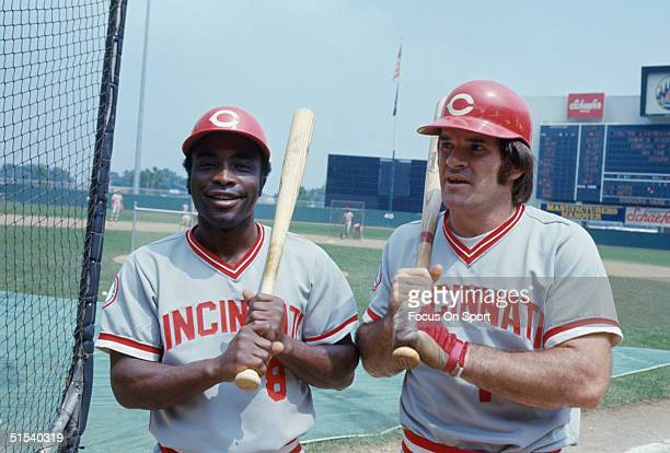 Joe Morgan and Pete Rose of the Cincinnati Reds pose for the camera during batting practice before a game against the Mets at Shea Stadium during the...