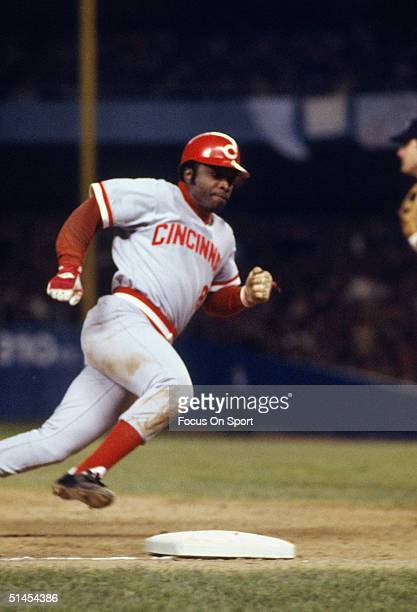 Joe Morgan of the Cincinnati Reds runs around third base and heads for home during the World Series against the New York Yankees at Yankee Stadium in...