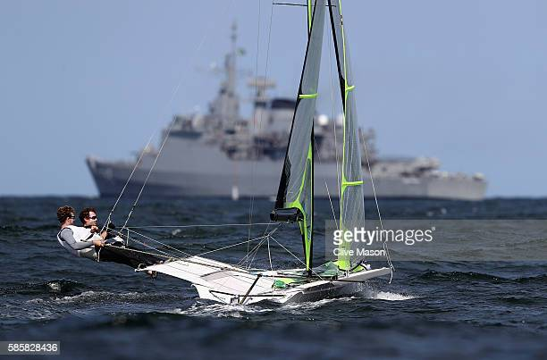 Joe Morris and Thomas Barrows of USA in action on their 49er class skiff during practice ahead of the Rio 2016 Olympic Games at the Marina da Gloria...
