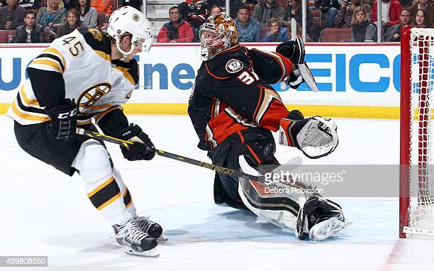 Joe Morrow of the Boston Bruins has his shot stopped by goalie Frederik Andersen of the Anaheim Ducks on December 1, 2014 at Honda Center in Anaheim,...