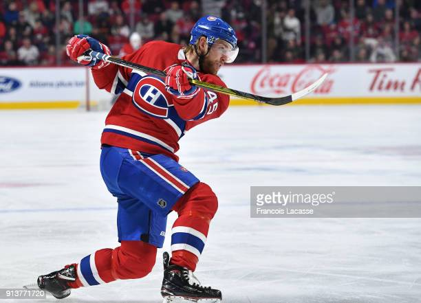Joe Morrow of the Montreal Canadiens fires a slap shot against the Anaheim Ducks in the NHL game at the Bell Centre on February 3 2018 in Montreal...