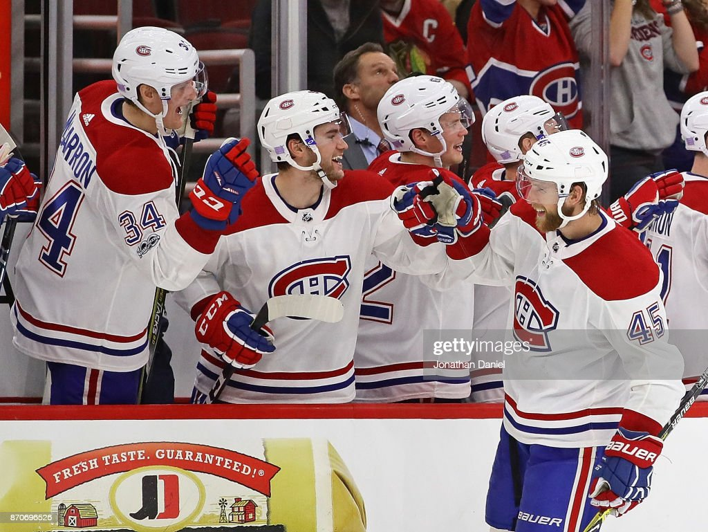 Joe Morrow #45 of the Montreal Canadiens is congratulated by teammates after scoring a third period goal against the Chicago Blackhawks at the United Center on November 5, 2017 in Chicago, Illinois. The Canadiens defeated the Blackhawks 2-0.
