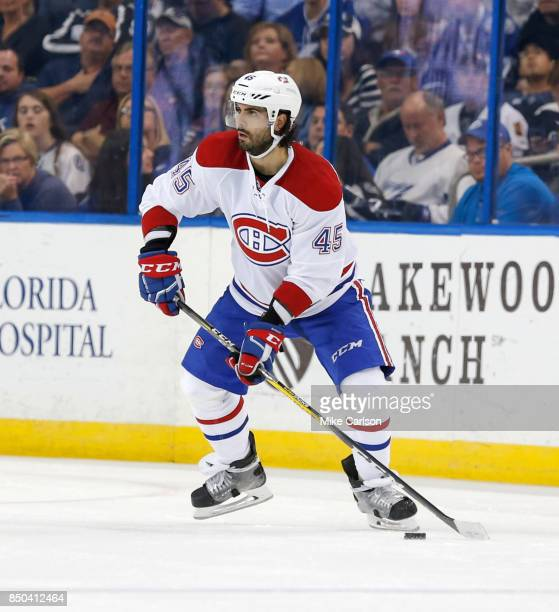 Joe Morrow of the Montreal Canadiens looks to pass against the Tampa Bay Lightning during the third period at Amalie Arena on December 28 2016 in...
