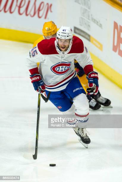 Joe Morrow of the Montreal Canadiens skates against the Nashville Predators during an NHL game at Bridgestone Arena on November 22 2017 in Nashville...