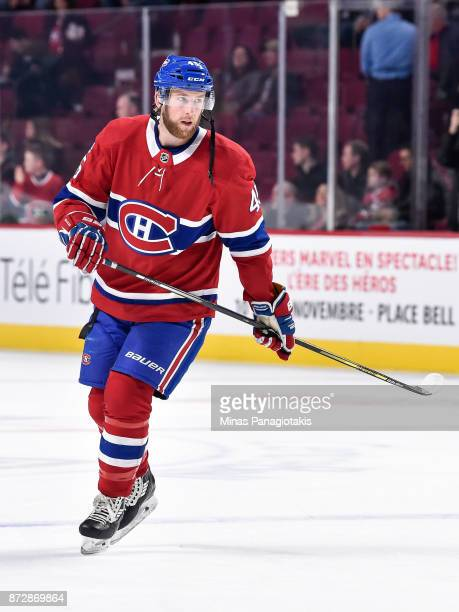 Joe Morrow of the Montreal Canadiens skates during the warmup prior to the NHL game against the Vegas Golden Knights at the Bell Centre on November 7...