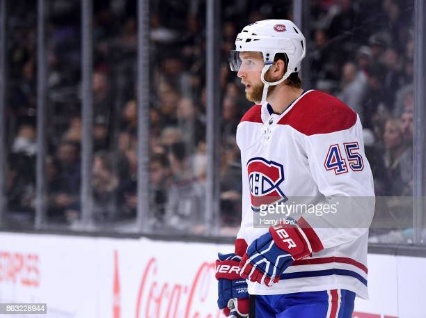 Joe Morrow of the Montreal Canadiens waits for a faceoff during the game against the Los Angeles Kings at Staples Center on October 18 2017 in Los...