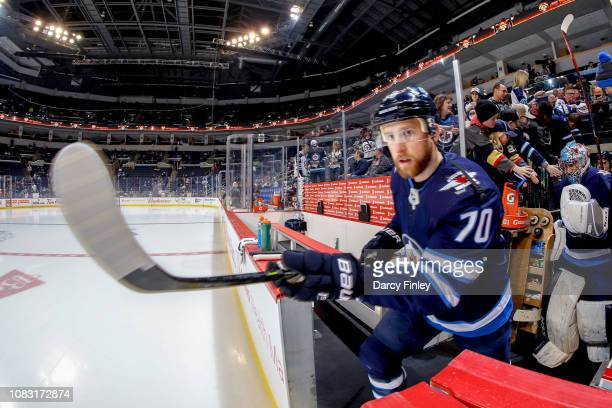 Joe Morrow of the Winnipeg Jets hits the ice for the start of the pregame warm up prior to NHL action against the Vegas Golden Knights at the Bell...