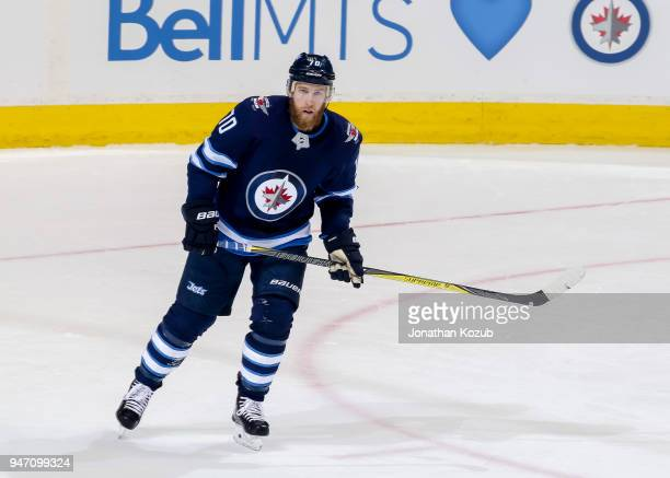 Joe Morrow of the Winnipeg Jets looks on during second period action against the Minnesota Wild in Game One of the Western Conference First Round...