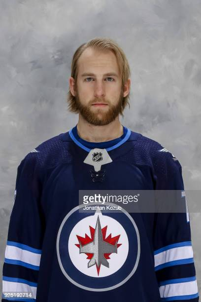 Joe Morrow of the Winnipeg Jets poses for his official headshot of the 20172018 season at the Bell MTS Place on February 27 2018 in Winnipeg Manitoba...