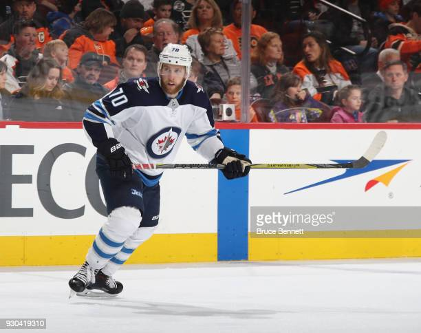 Joe Morrow of the Winnipeg Jets skates against the Philadelphia Flyers at the Wells Fargo Center on March 10 2018 in Philadelphia Pennsylvania