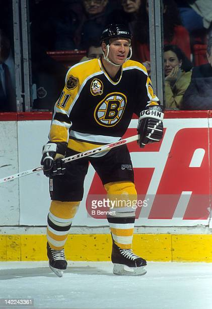 Joe Mullen of the Boston Bruins skates on the ice during an NHL game against the Montreal Canadiens on November 4 1995 at the Montreal Forum in...