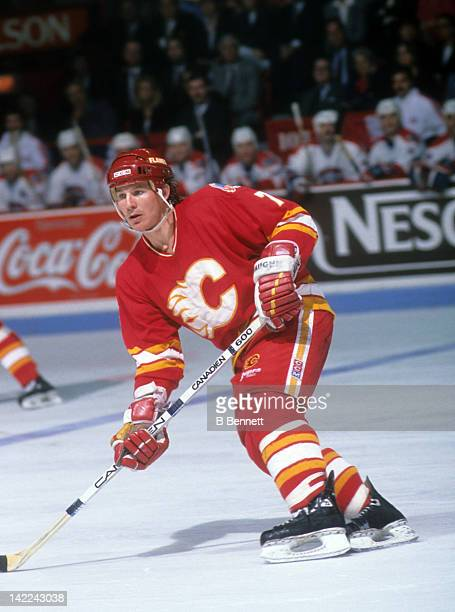 Joe Mullen of the Calgary Flames skates on the ice during Game 4 of the 1989 Stanley Cup Finals against the Montreal Canadiens on May 21 1989 at the...