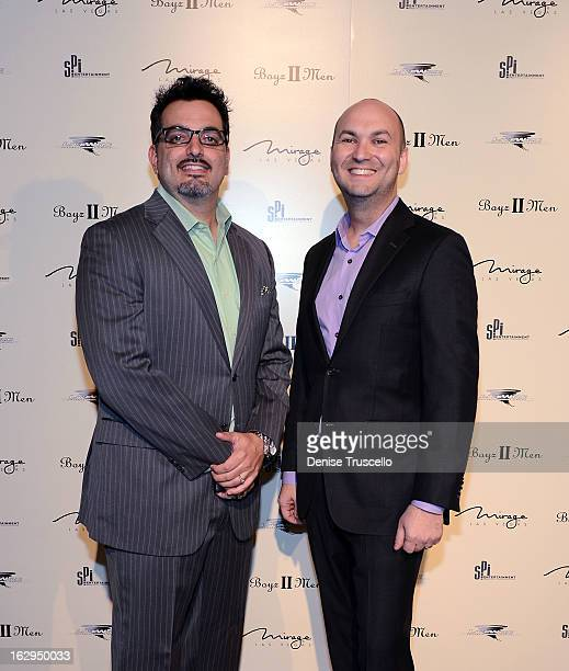 Joe Mulvihil and Adam Steck arrive at the opening of Boyz II Men new residency at The Mirage Hotel Casino on March 1 2013 in Las Vegas Nevada