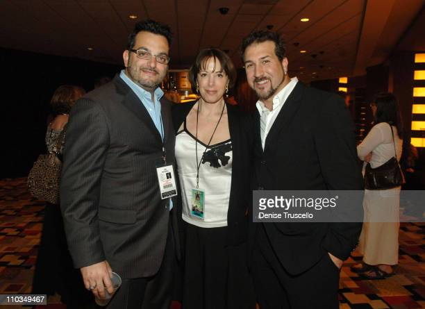 Joe Mulvihill Amy Sadowsky and singer Joey Fatone attend the 2008 Miss USA Competition After Party at Planet Hollywood Resort Casino on April 11 2008...