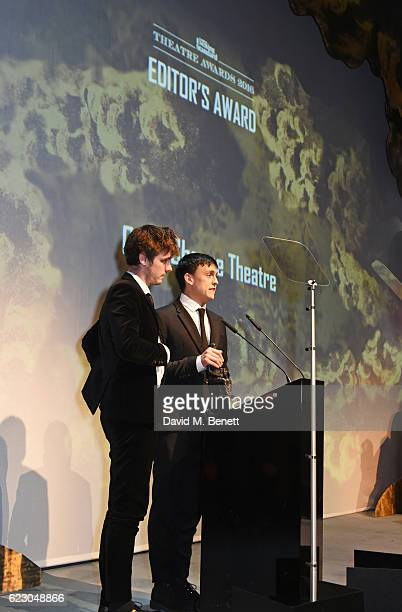 Joe Murphy and Joe Robertson, winners of the Editors Award for Good Chance Theatre, speak onstage at the 62nd London Evening Standard Theatre Awards,...