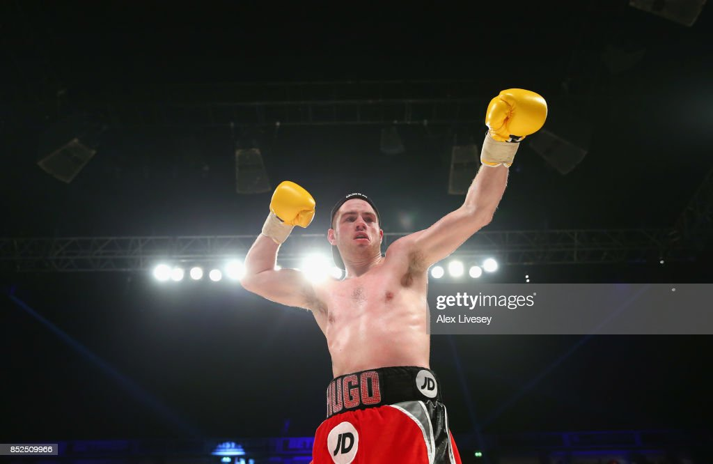 Joe Murray celebrates after victory over Matty Fagan in the Super Lightweight fight at Manchester Arena on September 23, 2017 in Manchester, England.