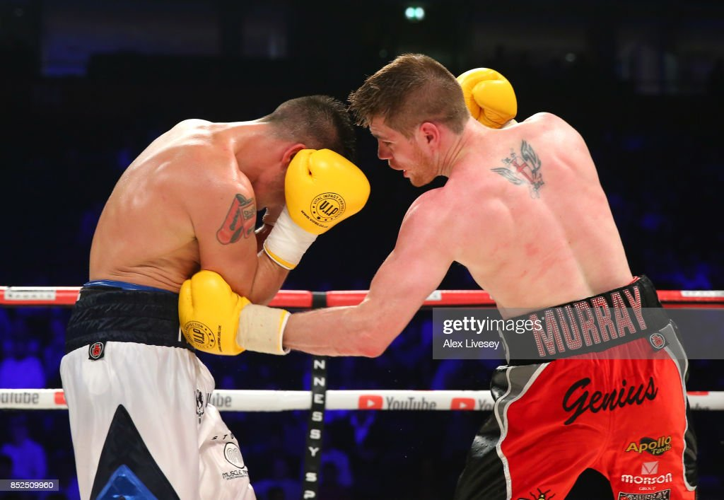 Joe Murray lands a left body shot on Matty Fagan during the Super Lightweight fight at Manchester Arena on September 23, 2017 in Manchester, England.